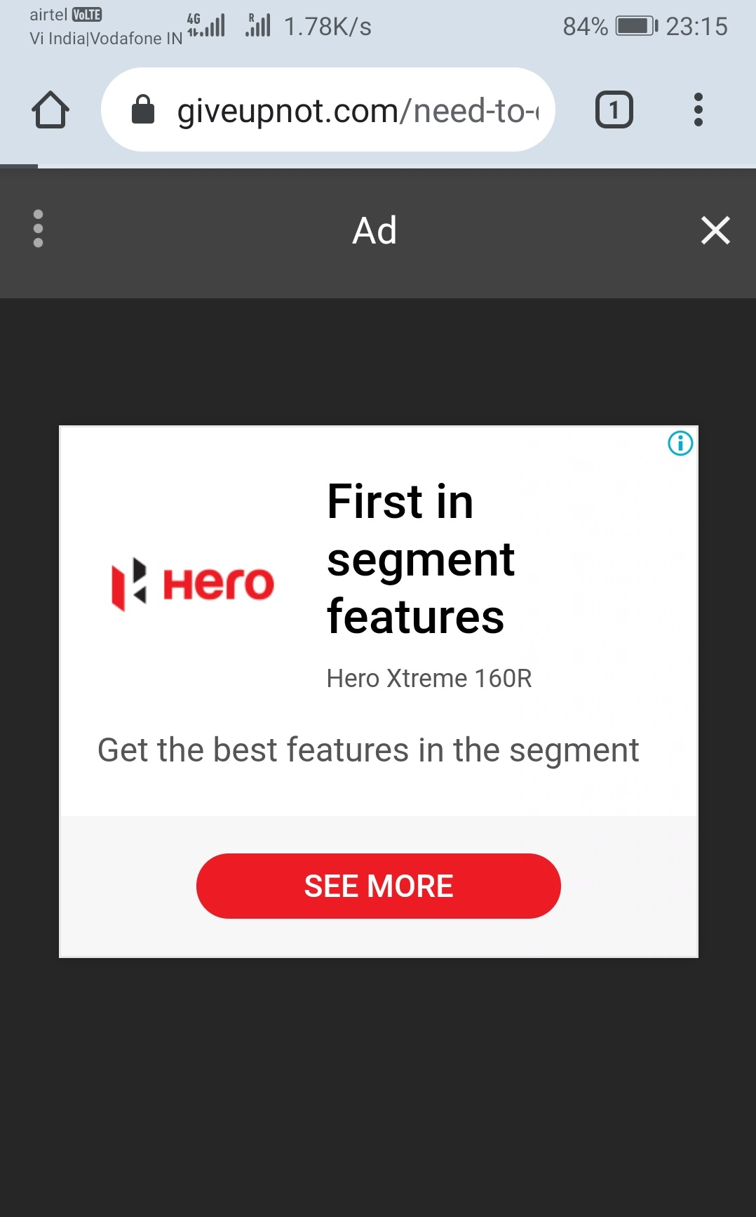 Example of Vignette Ad on Mobile